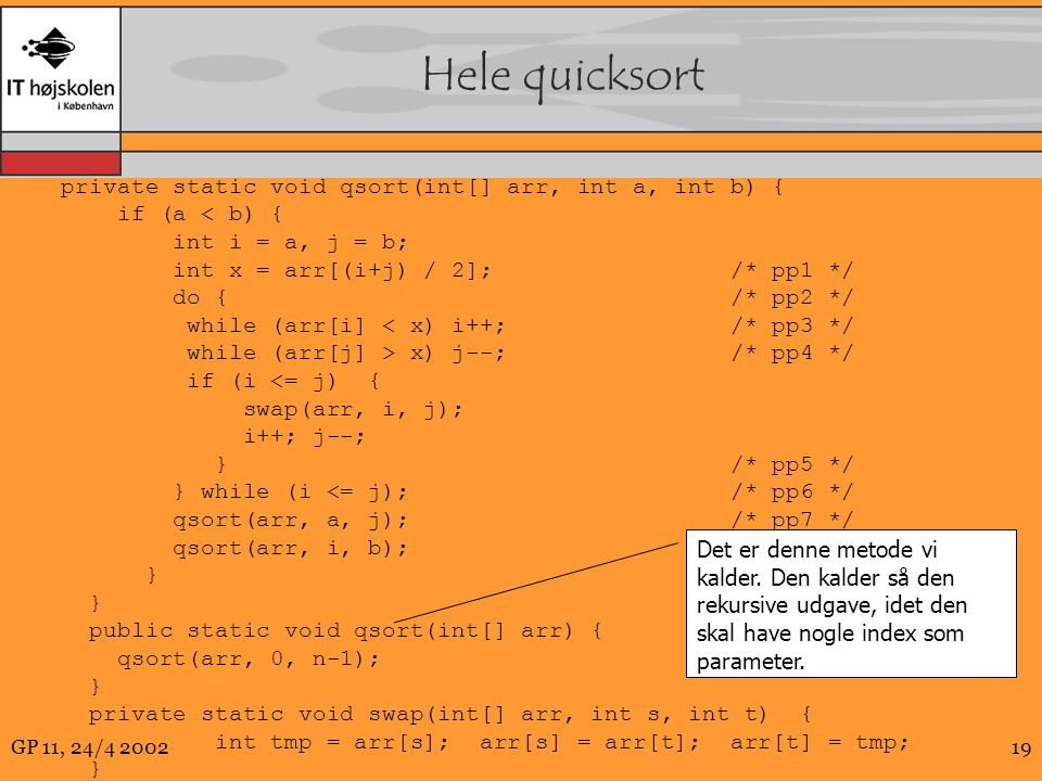 Hele quicksort private static void qsort(int[] arr, int a, int b) {